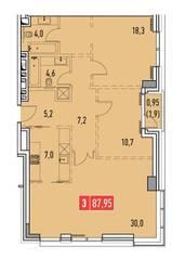 ЖК «Фили Парк», планировка 3-комнатной квартиры, 87.95 м²
