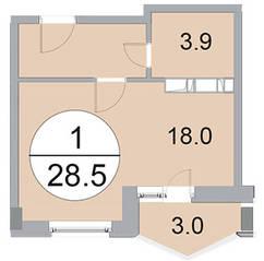 ЖК «Новое Бисерово», планировка студии, 28.50 м²