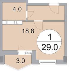 ЖК «Новое Бисерово», планировка студии, 29.00 м²