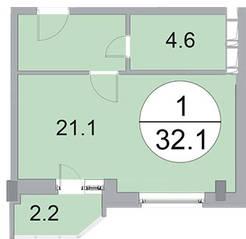 ЖК «Новое Бисерово», планировка студии, 32.10 м²