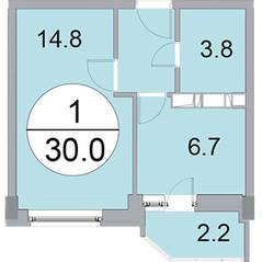 ЖК «Новое Бисерово», планировка 1-комнатной квартиры, 30.00 м²