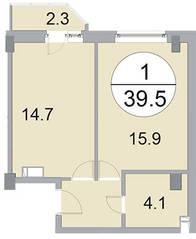 ЖК «Новое Бисерово», планировка 1-комнатной квартиры, 39.50 м²