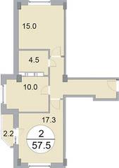 ЖК «Новое Бисерово», планировка 2-комнатной квартиры, 57.50 м²