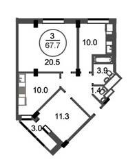 ЖК «Новое Бисерово», планировка 3-комнатной квартиры, 67.70 м²