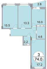 ЖК «Новое Бисерово», планировка 3-комнатной квартиры, 74.00 м²