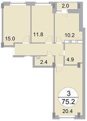 ЖК «Новое Бисерово», планировка 3-комнатной квартиры, 75.20 м²