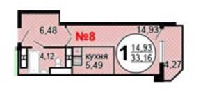 ЖК «Московские Водники-2», планировка 1-комнатной квартиры, 33.16 м²