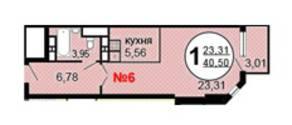 ЖК «Московские Водники-2», планировка 1-комнатной квартиры, 40.50 м²