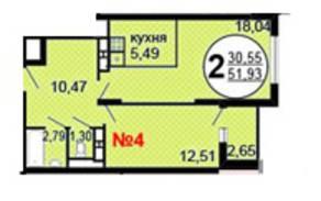 ЖК «Московские Водники-2», планировка 2-комнатной квартиры, 51.93 м²
