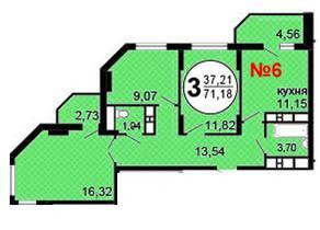 ЖК «Московские Водники-2», планировка 3-комнатной квартиры, 71.18 м²