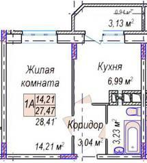 ЖК «Дружный», планировка 1-комнатной квартиры, 28.41 м²