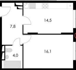 ЖК «Котельнические высотки», планировка 1-комнатной квартиры, 42.40 м²