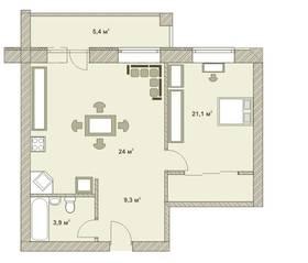МФК «Яхонтовый лес», планировка квартиры со свободной планировкой, 64.50 м²