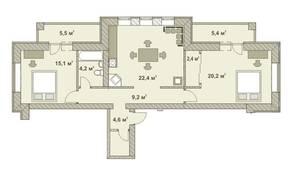 МФК «Яхонтовый лес», планировка 3-комнатной квартиры, 91.00 м²