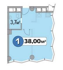 МФК «Нахимовский 21», планировка 1-комнатной квартиры, 38.00 м²