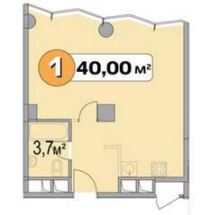 МФК «Нахимовский 21», планировка 1-комнатной квартиры, 40.00 м²