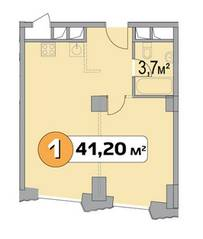 МФК «Нахимовский 21», планировка 1-комнатной квартиры, 41.20 м²