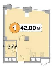 МФК «Нахимовский 21», планировка 1-комнатной квартиры, 42.00 м²