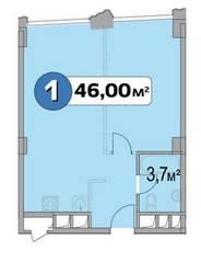 МФК «Нахимовский 21», планировка 1-комнатной квартиры, 46.00 м²