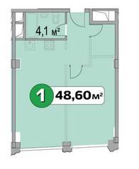 МФК «Нахимовский 21», планировка 1-комнатной квартиры, 48.60 м²