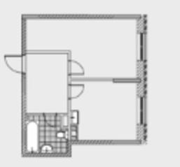 ЖК «Новобулатниково», планировка квартиры со свободной планировкой, 40.00 м²