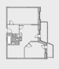 ЖК «Новобулатниково», планировка квартиры со свободной планировкой, 70.00 м²