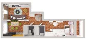 ЖК «Новое Жегалово», планировка 2-комнатной квартиры, 61.90 м²