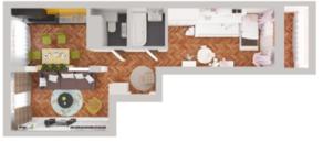 ЖК «Новое Жегалово», планировка 2-комнатной квартиры, 62.30 м²