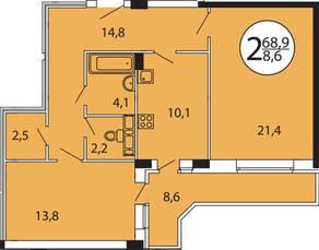 ЖК «Прибрежный» (Лыткарино), планировка 2-комнатной квартиры, 73.50 м²