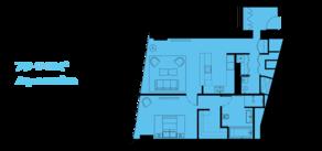 МФК «ОКО», планировка 2-комнатной квартиры, 83.00 м²