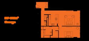 МФК «ОКО», планировка 2-комнатной квартиры, 92.00 м²