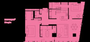 МФК «ОКО», планировка 3-комнатной квартиры, 157.00 м²