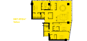 МФК «ОКО», планировка 5-комнатной квартиры, 288.00 м²
