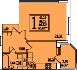 ЖК «Космическая гавань», планировка 1-комнатной квартиры, 46.22 м²