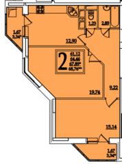 ЖК «Космическая гавань», планировка 2-комнатной квартиры, 67.89 м²