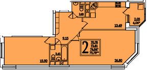 ЖК «Космическая гавань», планировка 2-комнатной квартиры, 74.84 м²