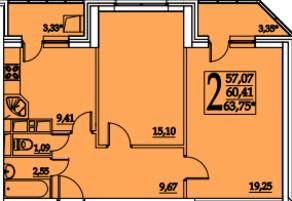 ЖК «Космическая гавань», планировка 2-комнатной квартиры, 63.75 м²