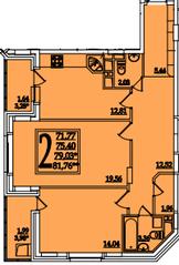 ЖК «Космическая гавань», планировка 2-комнатной квартиры, 79.13 м²