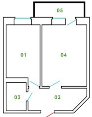 ЖК «Новый Клин», планировка 1-комнатной квартиры, 38.41 м²