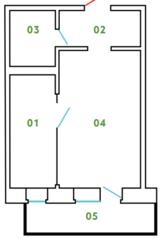 ЖК «Новый Клин», планировка студии, 33.28 м²