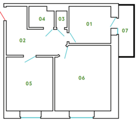 ЖК «Новый Клин», планировка 2-комнатной квартиры, 60.33 м²