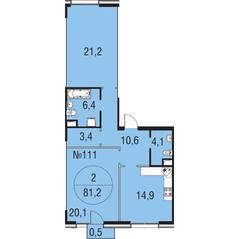 МЖК «Олимпийская Ривьера Новогорск», планировка 2-комнатной квартиры, 81.20 м²