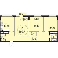 МЖК «Олимпийская Ривьера Новогорск», планировка 3-комнатной квартиры, 100.70 м²