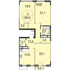 МЖК «Олимпийская Ривьера Новогорск», планировка 3-комнатной квартиры, 106.90 м²