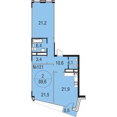 МЖК «Олимпийская Ривьера Новогорск», планировка 2-комнатной квартиры, 89.60 м²