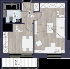 ЖК «Кварта», планировка 1-комнатной квартиры, 40.35 м²