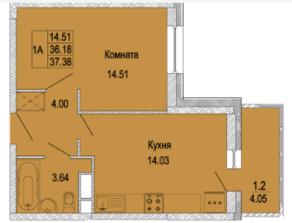 ЖК «Правда-4», планировка 1-комнатной квартиры, 37.38 м²