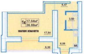 ЖК «Дом на улице Декабристов», планировка 1-комнатной квартиры, 36.86 м²