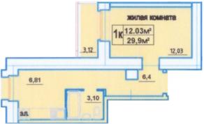 ЖК «Дом на улице Декабристов», планировка 1-комнатной квартиры, 29.90 м²