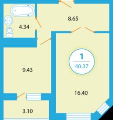 ЖК «Букино», планировка 1-комнатной квартиры, 40.37 м²